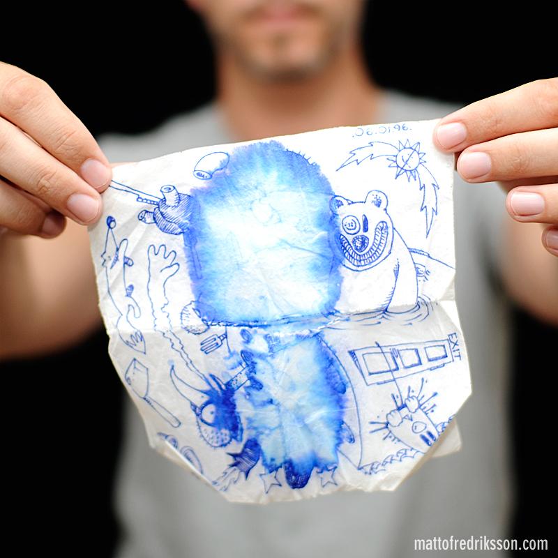 Drawing Jonas Karner on a napkin